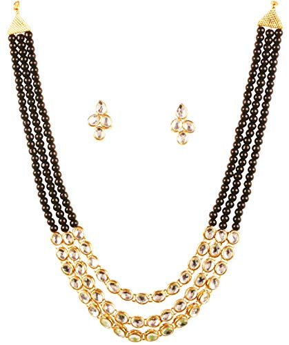 Touchstone New Contemporary Kundan Collection Indian Bollywood Desire Mughal Kundan Look Triple Line Faux Black Onyx Beads Bridal Jewelry Necklace Set in Antique Gold Tone for ()