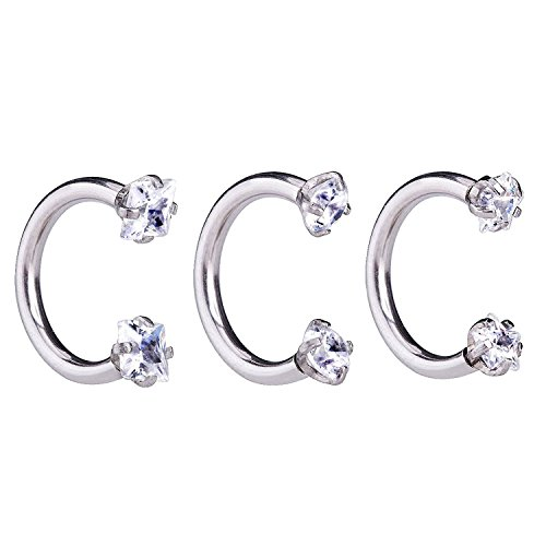 Injoy Jewelry 3pcs 16G Cubic Zirconia Stainless Steel Horseshoe Hoop Rings for Nose Ear Cartilage Helix Septum Tragus, 8MM Inner Diameter