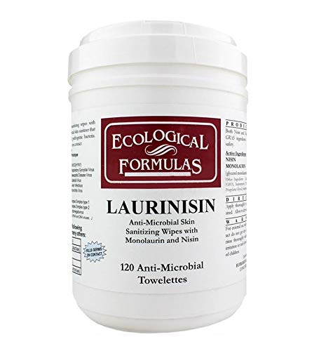 Ecological Formulas Laurinisin Anti-Microbial Towelettes, White, 120 Count