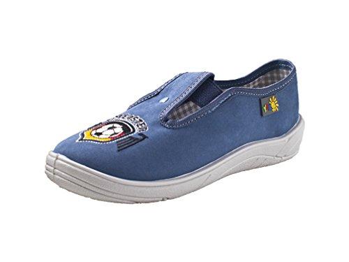 Yaro - Zapatillas de estar por casa de algodón para niño Azul - blau/Meister