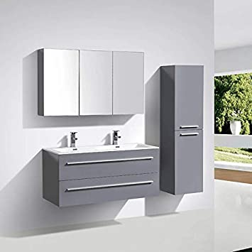 Meuble salle de bain design double vasque SIENA largeur 120 cm, gris laqué bec0fabd0a9a