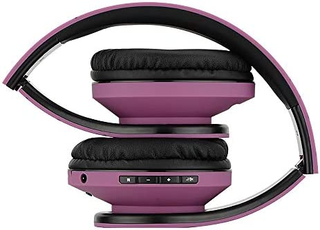 PowerLocus Bluetooth Over-Ear Headphones, Wireless Stereo Foldable Headphones Wireless and Wired Headsets with Built-in Mic, Micro SD/TF, FM for iPhone/Samsung/iPad/PC (Purple)