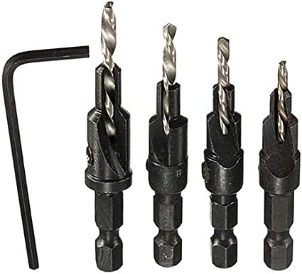 interjunzhan Professional Quick Change Hex Shank Screw #6#8#10#12 HSS Countersink Drill Bit Set 4 Pcs