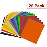 "Heat Transfer Vinyl Bundle by CraftVille: 22 Pack - 12"" x 10"" Sheets + Free Teflon Sheet, 20 Assorted Colors - Suitable for Cricut and Silhouette Cameo - Iron On Flexible HTV for T-Shirts"