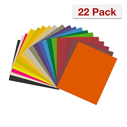 Heat Transfer Vinyl Bundle By CraftVille: 22 Pack - 12'' x 10'' Sheets, 20 Assorted Colors - Suitable For Cricut and Silhouette Cameo - Iron On Flexible HTV for T-Shirts - Included Teflon Sheet by CraftVille