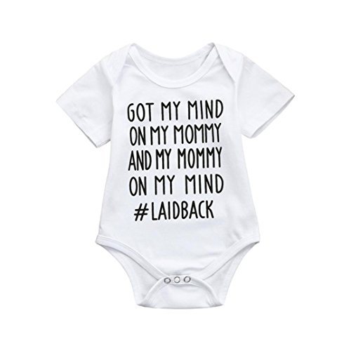 Goodlock Newborn Kids Fashion Romper Baby Boys Girls Cute Letter Print Romper Jumpsuit Outfits Clothes