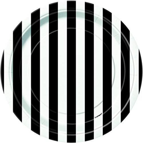 Black Striped Paper Cake Plates, (Halloween Party Finger Food For Adults)