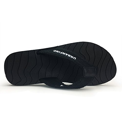 URBANFIND Men's Thongs Flip Flop Sandals Comfortable Athletic Arch Support Beach Shower Slippers Weave Black, 10 D(M) US by URBANFIND (Image #4)