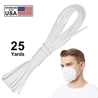 Vanelc Round Elastic Band for DIY Mask,1/8 Inch Elastic Bands for Sewing Elastic Cord Ear Rope White Earloop Cord DIY Sewing Crafts White, 25Yards