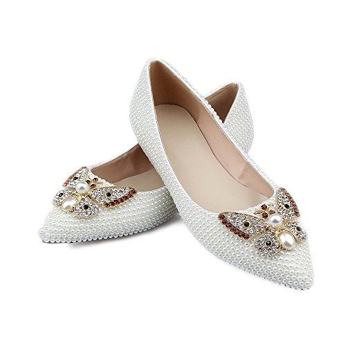 Schuhe Fläche Elegant Sliber Schuhe Lacitena Perle Kristall Weiße W1RnnYp0