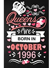 25th Birthday Gifts for women : Queens are Born in October 1996: Funny Notebook for Women's, 25th Birthday Notebook for Women, Gift for Women ... ( a5 notebook ), Great alternative to a card