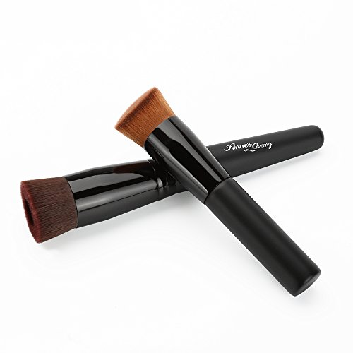 Anne's Giverny Foundation Brush Liquid for Makeup Concave + Angled Flat Black Make up Brushes (Gel Liquid Foundation)