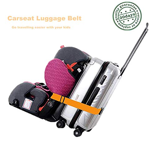 Kids Car Seat Travel Belt Luggage Strap to Convert CarSeat and Luggage Suitcase into an Airport Car Seat Stroller & Carrier(Orange) (Car Seat Airport)