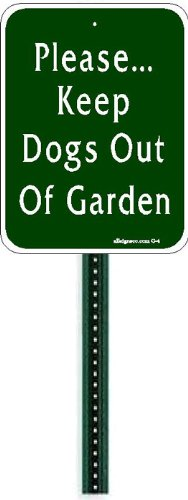 Small Discreet Please Keep Dogs Out Of Garden Sign And 1ft Steel Post  Mounted To Place