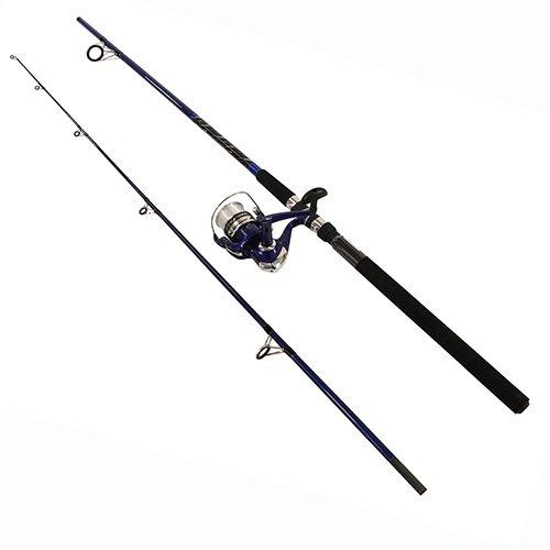 Okuma Fin Chaser - Okuma FNX-80-40BL Fin-Chaser Spinning Combo, 40 Reel Size, 8' Length, 2 Piece, 1/2-1 1/2 oz Lure Rate, Medium/Heavy Power