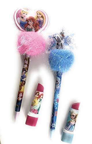 (Frozen & Princess Pom Pom Pen and Lipstick Eraser Bundle - 4 pack 2 of each)