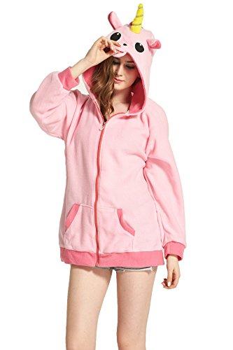 Pink Unicorn Polar Fleece Sweatshirts Hooded Jacket M