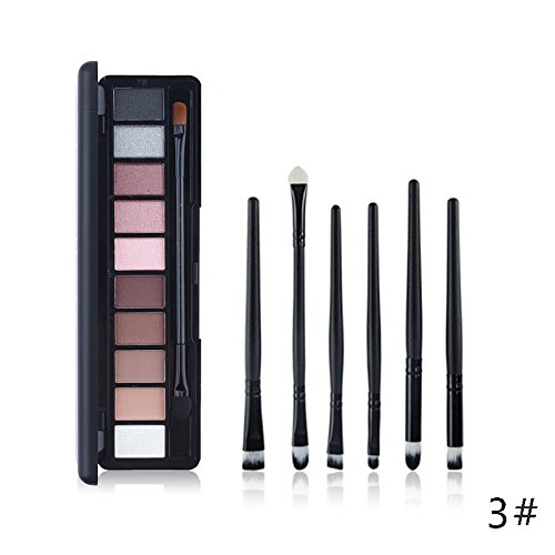Tanali Matte Shimmer Eyeshadow Palette-Nude Neutral with 6pcs Eye Shadow Makeup Brushes Make Up Set (#3)