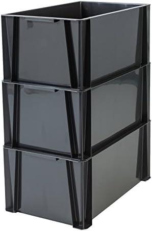 Stacking Box Iris Ohyama 55 x 35 x 24,5 cm noir set 3 bacs de rangement plastique 36 L STB-LD