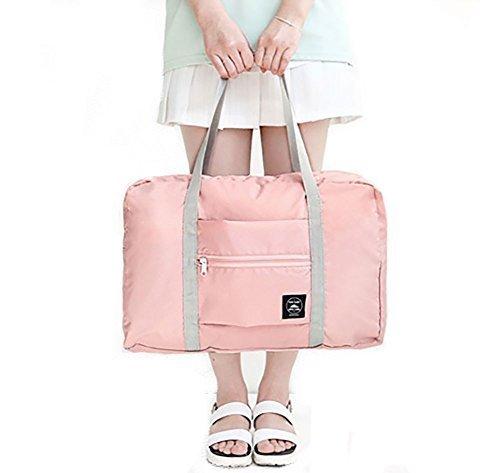 H&N Fashion Trip Organized Zipper Waterproof Tote Handbag Travel Bag with High Capacity Foldable Storage Duffle Bag Pink