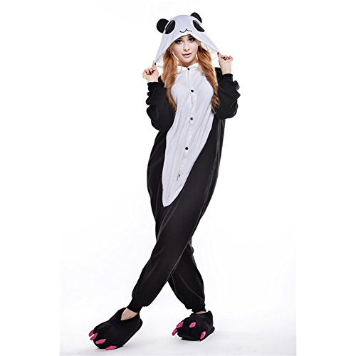 Amurleopard Unisex Onesie One-Piece Animal Pajamas Halloween Costume Cosplay Panda S -
