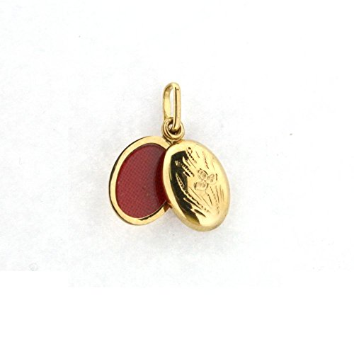 18K Yellow Gold Oval Locket with Flower Design (13mm X 10mm/23mm with Bail) by Amalia