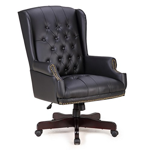 Belleze Executive Classic Wingback Office Chair, Traditional Button Tufted Styling with Faux Leather, Wood Base, - Mahogany Writing Desk Leather