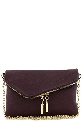 Envelope Wristlet Clutch Crossbody Bag with Chain Strap (Wine)