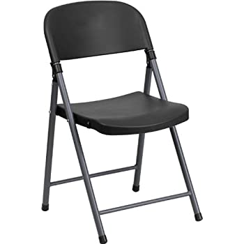 Flash Furniture HERCULES Series 330 Lb Capacity Black Plastic Folding Chair With Charcoal Frame