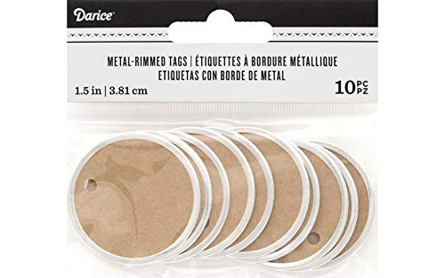 Darice Natural Kraft Silver Rimmed Tags, 10 Piece