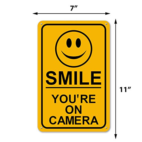 Smile You're On Camera Sign Security Waterproof Business Yellow Video CCTV
