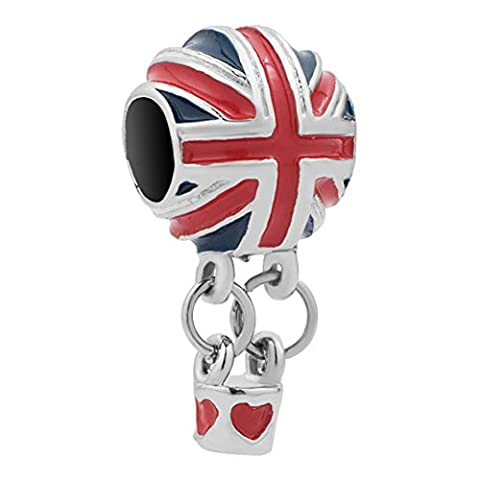LilyJewelry British Flag Hot Air Balloon Charm Dangle Beads For Bracelets - Jack Heart Charm