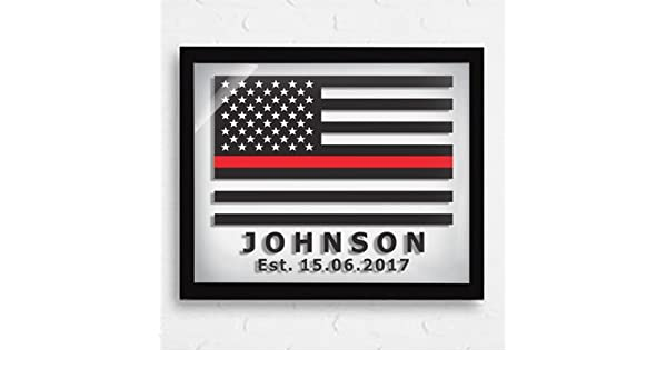 Dad gifts - Thin Red Line Flag - Personalized Firefighters Gift - Fathers day gifts - American Flag - Glass Prints - Retirement Gifts - Firefighters Gifts ...