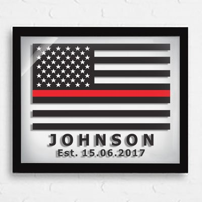 Dad gifts - Thin Red Line Flag - Personalized Firefighters Gift - Fathers day gifts - American Flag - Glass Prints - Retirement Gifts - Firefighters Gifts - Keepsake gifts