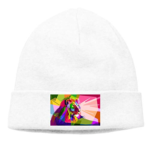aee77ba36e4 Christopher Macadam Colorful Lion Unisex Beanie Hat Winter Warm Knit Skull Hat  Cap Pullover Hats at Amazon Women s Clothing store