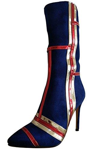 Aisun Aiguille Bottes Soirée Tige Bleu Multicolore Moyenne Femme Ruée Talon Sexy 4Zwqr64