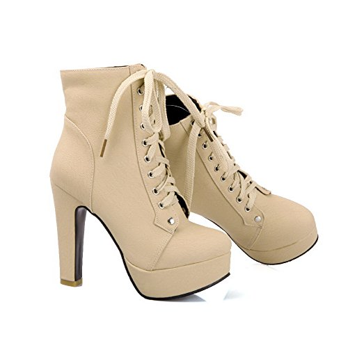 Allhqfashion Women's High-Heels Soft Material Low-top Solid Lace-up Boots Beige 6oNvPu