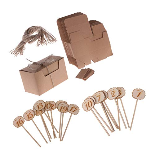 50pcs Kraft Candy Boxes Tags 20pcs Wedding Wooden Table Number on Stick 1-20
