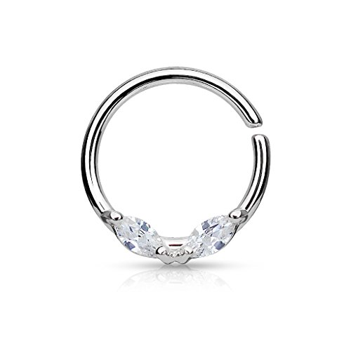 316L Surgical Steel Bendable WildKlass Septum/Cartilage Hoop Ring with Prong Set Marquise CZs (Steel/Clear) Steel Prong Set Captive Bead