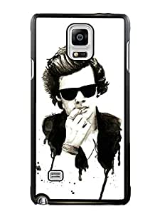Popular Sell harry styles drawing Black Phone Case For Samsung Galaxy Note 4 Cover Case