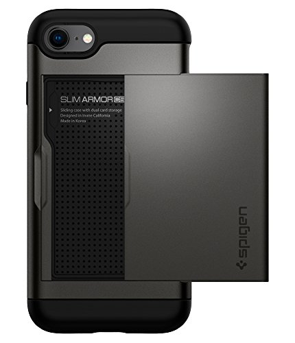 Spigen Slim Armor CS iPhone 7 Case/iPhone 8 Case with Slim Dual Layer Wallet Design and Card Slot Holder for Apple iPhone 7 (2016)/iPhone 8 (2017) - Gunmetal