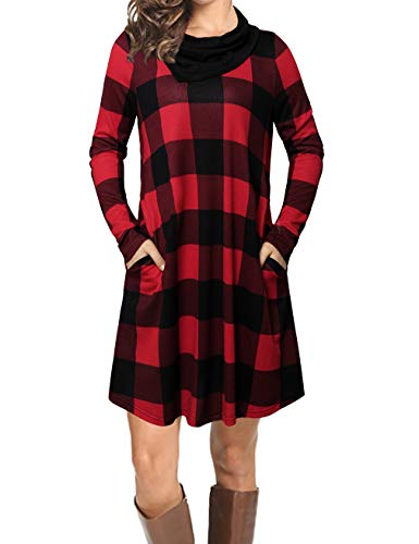 (Women's Long Sleeve Drape Scarf Neck Patchwork Casual Plaid Tunic Top,Red-1 L)
