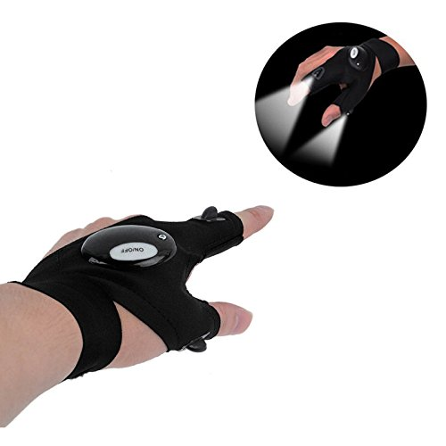 LAB OUTLET Multipurpose Outdoor LED Flashlight Glove Magic Strap Fingerless Gloves with Mini Torch Flashlight for Repairing,Working in Darkness Places,Camping,Hiking