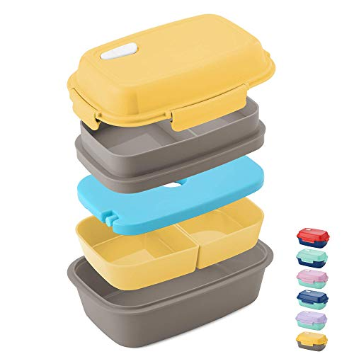 Ultimate Bento Box - Lunch Box for Kids & Adults - 100% Leakproof - Multi Compartment Food Container with Removable Containers and Ice Pack - Microwave & Dishwasher Safe (Cold Removable Pack)