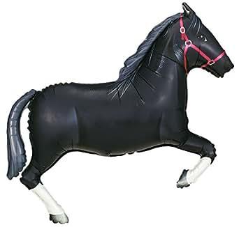 Burton & Burton Betallic Black Horse Shaped Jumbo Foil Balloon