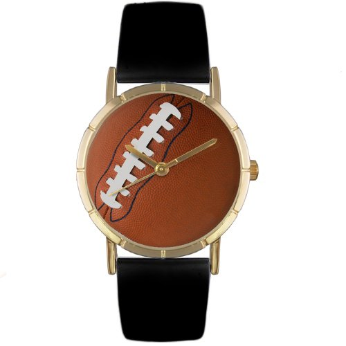Whimsical Watches Kids' P0840017 Classic Football Lover Black Leather And Goldtone Photo Watch
