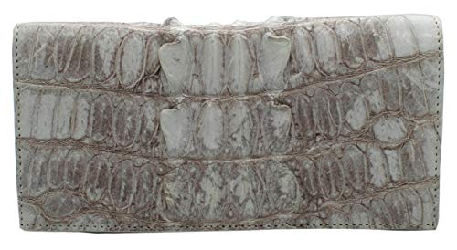Authentic M Crocodile Skin Women's Long Bifold Tails Checkbook Wallet (Natural White)