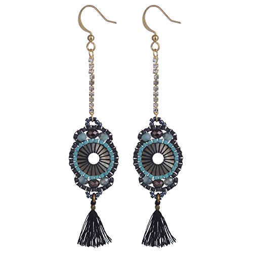 BeadChica Handmade Boho Dangle Earrings for Women Tassel Beadwork Jewelry (Color 1)
