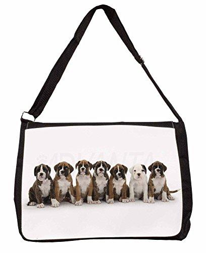 Boxer Dog Puppies Large 16 Black School Laptop Shoulder Bag KZAIQNxpZM