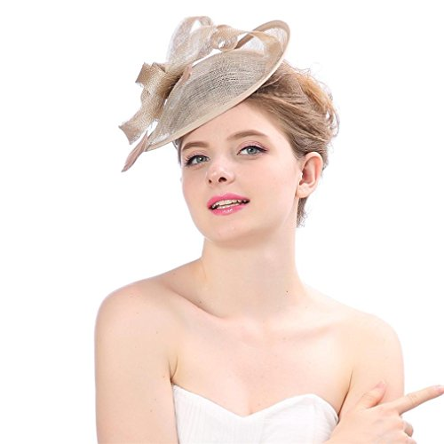 Sinfu® Fashion Wedding Women Fascinator Penny Mesh Hat Ribbons And Feathers Party Hat (Diameter:25CM,Length: 25CM, Width:7CM, Khaik) ()